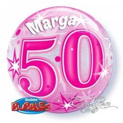 Bubble Helium Ballon 50 Jaar Pink met tekst
