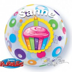 Bubble Helium Ballon Happy Birthday met Tekst