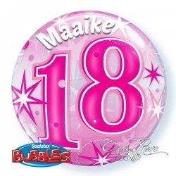 Bubble Helium Ballon 18 Jaar Pink met Tekst