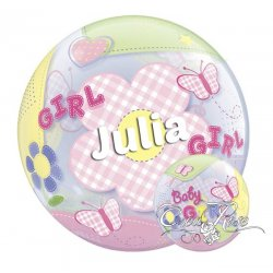 Bubble Helium Ballon Baby Girl met Tekst