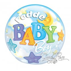 Bubble Helium Ballon Baby Boy Moon met Tekst
