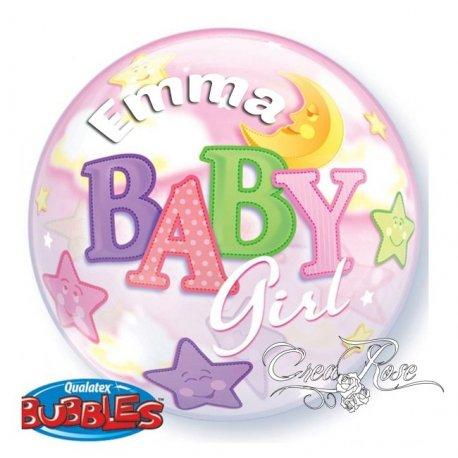 Bubble Helium Ballon Baby Girl met Tekst