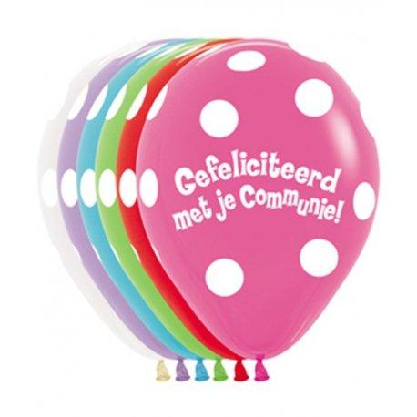 Latex Sempertex Ballon Gefeliciteerd met je Communie Assortiment