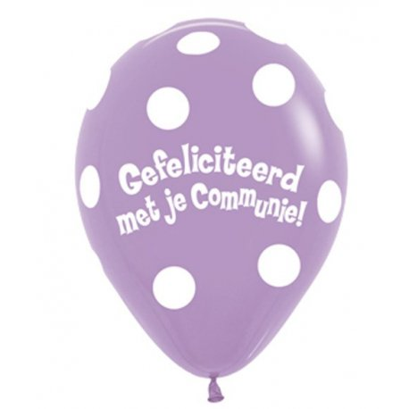 Sempertex Latex Communie Ballon Polkadot Lila kleur