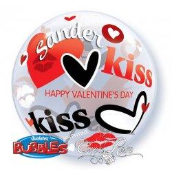 Bubble Ballon Valentijn Kisses met Tekst