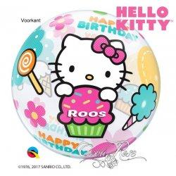 Bubble Helium Ballon Hello Kitty Happy Birthday met Tekst