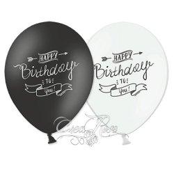 Latex Ballon Happy Birtday Zwart, Wit