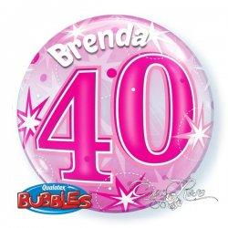 Bubble Helium Ballon 40 Jaar Pink met Tekst