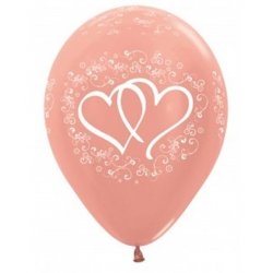 Ballon All Over Hearts Pearl Rose Gold