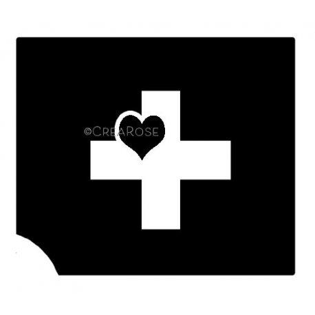 Glitter Tattoo Sjabloon Kruis met Hart M01
