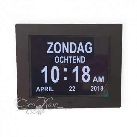 Digitale Dementieklok / Kalenderklok - Zwart