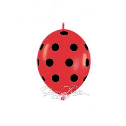 Doorknoop Ballon Fashion Solid Red Lady Bug