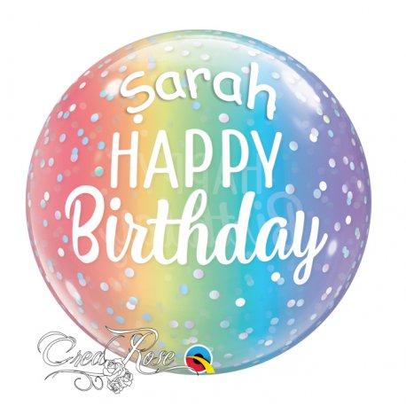 Bubble Helium Ballon Dots Happy Birthday met Tekst