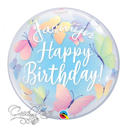 Bubble Helium Ballon Happy Birthda Vlinders met Naam