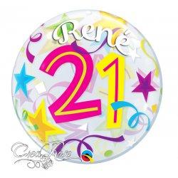 Bubble Helium Ballon 21 Jaar Brilliant Stars met Naam