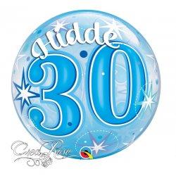 Bubble Helium Ballon 30 Jaar Blue met Naam