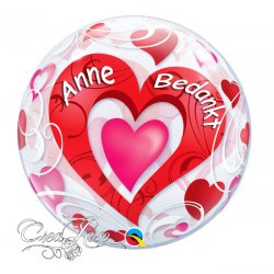 Bubble Helium Ballon Red Hearts & Filigree Achterkant