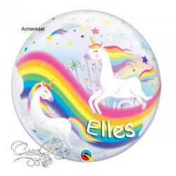 Bubble Helium Ballon Birthday Rainbow Unicorn met Naam