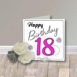 Wenskaart CreaRose 18 Happy Birthday Pink