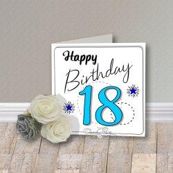 Wenskaart CreaRose 18 Happy Birthday Blue