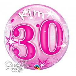 Bubble Helium Ballon 30 Jaar Pink met Naam