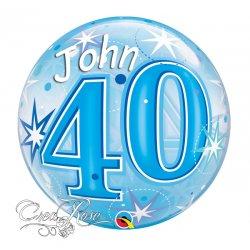 Bubble Helium Ballon 40 jaar Blue met Naam