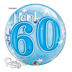 Bubble Helium Ballon 60 Jaar Blue met Naam