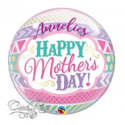 Bubble Helium Ballon Mothersday Dots & Stripes met Naam
