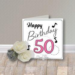 Wenskaart CreaRose 50 Happy Birthday Pink