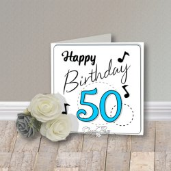 Wenskaart CreaRose Happy Birthday 50 Blue