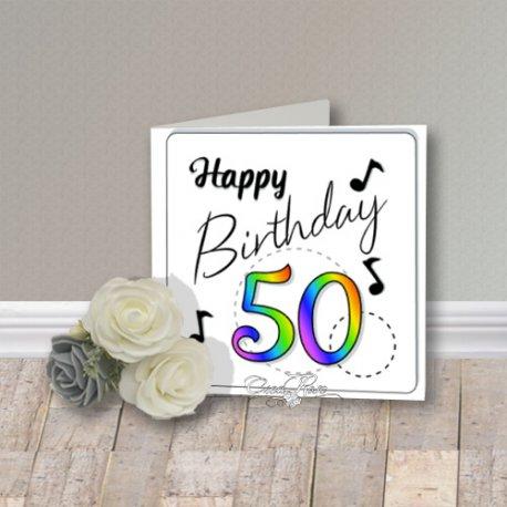 Wenskaart CreaRose Happy Birthday 50 Multi