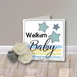 Wenskaart CreaRose Welkom Baby Blauw