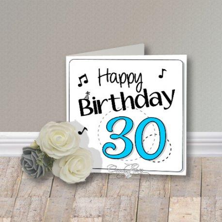 Wenskaart CreaRose Happy Birthday 30 Blue