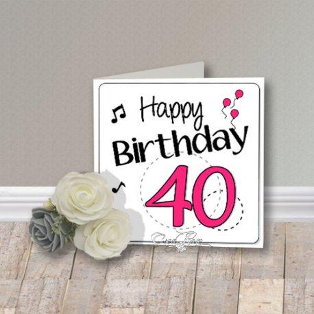 Wenskaart CreaRose Happy Birthday 40 Pink