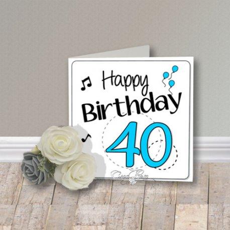 Wenskaart CreaRose Happy Birthday 40 Blue