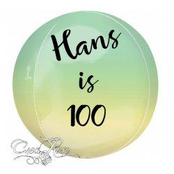 Orbz Helium Ballon Yellow, Green met Tekst