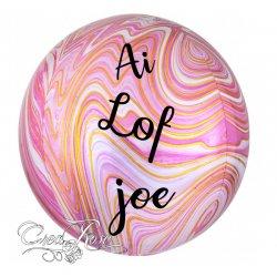 Orbz Helium Ballon Marblez Pink met Eigen Tekst
