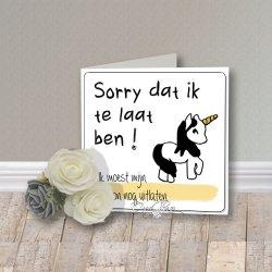 Wenskaart CreaRose Sorry te Laat...